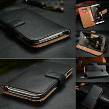 Classic Genuine Leather Flip Wallet Case Cover For HTC