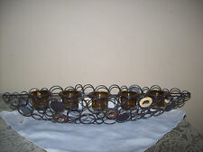 Home Interiors Metal/Wood Votive Candle Holder Amber Glass Cups