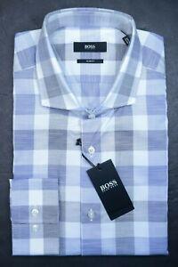 Hugo Boss Men's Jason Slim Fit  Open Blue Check Cotton Dress Shirt 39 15.5