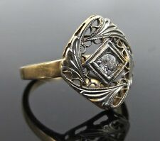 Antique Old Mine Cut Diamond 14K Gold Hand Carved Ring