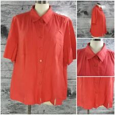 ADDITION-ELLE Canada Women Plus Sz 2x Linen Blend Buttons Down Blouse Red