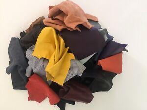 1 lb Bulk Scrap Leather Trimmings 1 to 2 oz Lamb Cow Remnants Color Craft Pieces