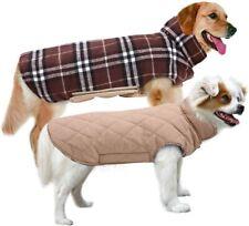 MIGOHI Dog Jackets for Winter Reversible Dog Coat Vest Plaid Tan Size Large