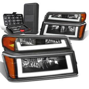 For 2004-2012 Colorado Canyon LED DRL Tube Headlight Bumper Lamp+Tool Box Black