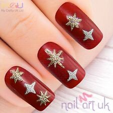 Gold & Silver Star Glitter Adhesive Nail Art Stickers