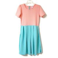 Lularoe Size Large Simply Comfortable Color Block Short Sleeve Dress