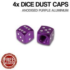 4x Purple Dice Car Bike Motorcycle BMX Wheel Tyre Valve Metal Dust Caps Dusties