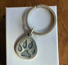 RETIRED James Avery Sterling Silver PAW PRINT Pendant Charm & Key Ring 19.4G