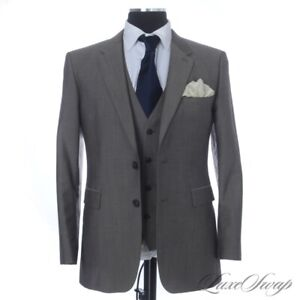 #1 MENSWEAR RECENT Burberry Made in Italy Mocha Taupe Sharkskin 3 Piece Suit 52