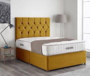 Plush velvet contemporary divan bed set + Mattress +Button headboard + All sizes