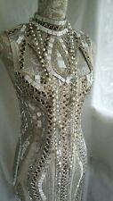 Vtg 1920,s style Downton Peaky ivory pearl  beaded prom wedding dress size 10 uk