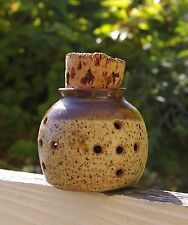 Garlic Pottery Container with Cork Potpourri Signed by Artist Roth