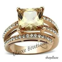 6.85 CT PRINCESS CUT CHAMPAGNE AAA CZ ROSE GOLD PLATED FASHION RING SIZE 5-11