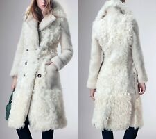 Burberry Prorsum Ivory Cream Double Breasted Shearling Fur & Leather Coat IT 42