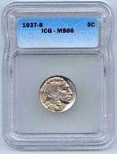 Very Rare, High Grade!  1937-S 5C Buffalo Nickel. ICG Graded MS 66. Lot #2530