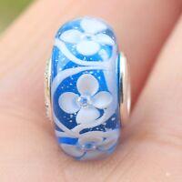 S925 sterling silver Blue Bloom Glass Charm Murano Bead Fit European Bracelet