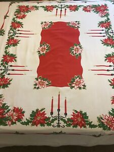 Lovely Large Vintage Christmas Tablecloth Cotton with Poinsettia Holly & Candles