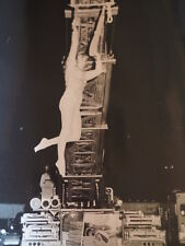 """Circus Performer on Ladder Truck preparing for Show Press Photo 8 X 10"""""""