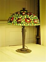 Authentic Northeastern Lamp and Bronze Co. Circa 1980 Lamp w. Leaded Glass Shade