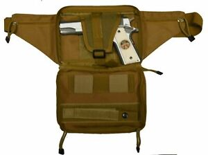 Tan Concealed Carry 4 Compartment Durable Canvas Waist Gun Fanny Pack CCW