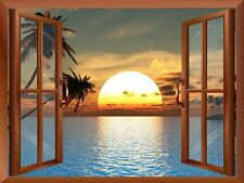 """Beach Landscape with Palm Trees at Sunset View from inside a Window - 24""""x32"""""""