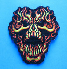 BRAND NEW FLAMING SKULL BIKER IRON ON PATCH