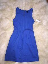 Jcrew Royal Blue Gold Pleated Flare Sunday Jumper Dress A5434 Sz 4 NEW