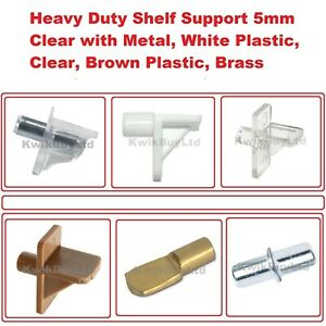 Heavy Duty Push in Shelf Supports Studs Pegs Kitchen Cabinets Bookcases - 5mm