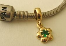 GENUINE SERENITY  9ct YELLOW GOLD CHARM BEAD with EMERALD MAY BIRTHSTONE DROP