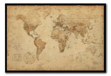 World Map Poster Ye Old Parchment Black Framed Ready To Hang Frame Free P&P