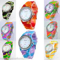 New Fashion 1PCs Quartz DIY Diamante Silicone Bracelet Watch For Women Lady Girl