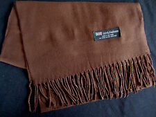 100% Cashmere Winter Scarf Scarve Scotland Warm Solid Brown Neck Wrap Shawl NEW