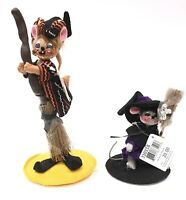 "Annalee Halloween 8"" Tall Mouse W Broom & 4"" Mouse W Broom Lot of 2"