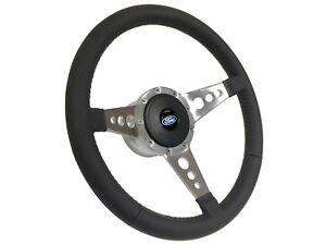 Ford S9 Sport Leather Steering Wheel Blue Oval Kit   Ididit compatible adapter