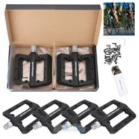 2 Pairs Mountain Road Bike Bicycle Bearing Pedals Wide Nylon Black Pedal 9/16''