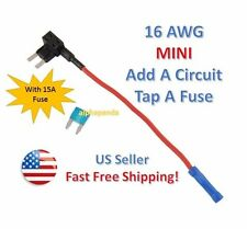 MINI Fuse Taps Holder Add-A-Circuit 16 AWG Gauge Car Auto Truck Blade +15 Amp
