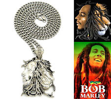 "BOB MARLEY MAN LION FACE PENDANT 8mm 36"" STAINLESS STEEL CUBAN CHAIN NECKLACE"