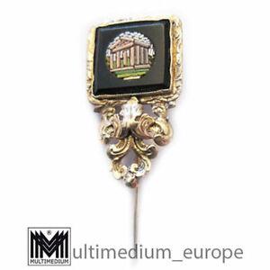 Biedermeier Krawattennadel Schalnadel Millefiori Gold Mikromosaik micromosaic