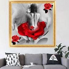 DIY 5D Femme Fleur Mosaique Point De Croix Broderie Diamant Peinture Mural Decor