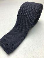 """Vintage Men's 100% Wool Navy Blue Skinny Square End 54"""" Tie"""