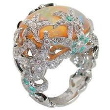 Trendy Silver Orange Fire Opal Starfish Wedding Engagement Bridal Ring Size6-10