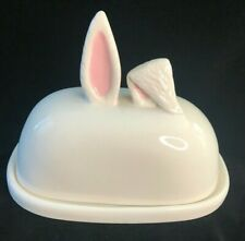Magenta Whimsy Home Rabbit Ears Covered Butter Dish New