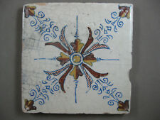 polychrome antique Dutch tile Haarlem 17th century -- free shipping