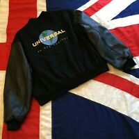 MENS UNIVERSAL BLACK WOOL AND REAL LEATHER BOMER JACKET XL