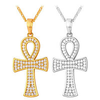 18K Gold Plated Cubic Zirconia Egyptian Ankh Cross Key of Life Pendant Necklace