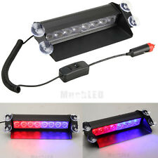 Red/Blue 8-LED Car Dash Strobe Light Flash Emergency Warning Safety Lamp