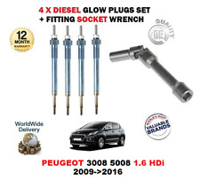 FOR PEUGEOT 3008 5008 1.6 HDi 2009>2016 GLOW PLUGS SET WITH FITTING SOCKET