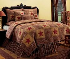 VINTAGE STAR WINE 3pc Full Queen QUILT SET : IHF PRIMITIVE PIECED COUNTRY RED