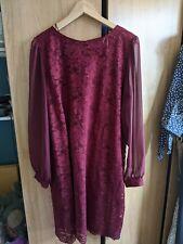 Vestido De Encaje Rojo Talla 18 Dorothy Perkins-usado solo dos veces