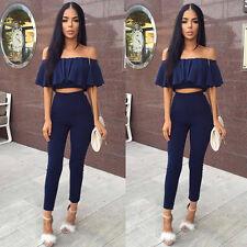 Women Crop Top Blouse + Pants Two-piece Playsuit Bodysuit Jumpsuit Romper Set